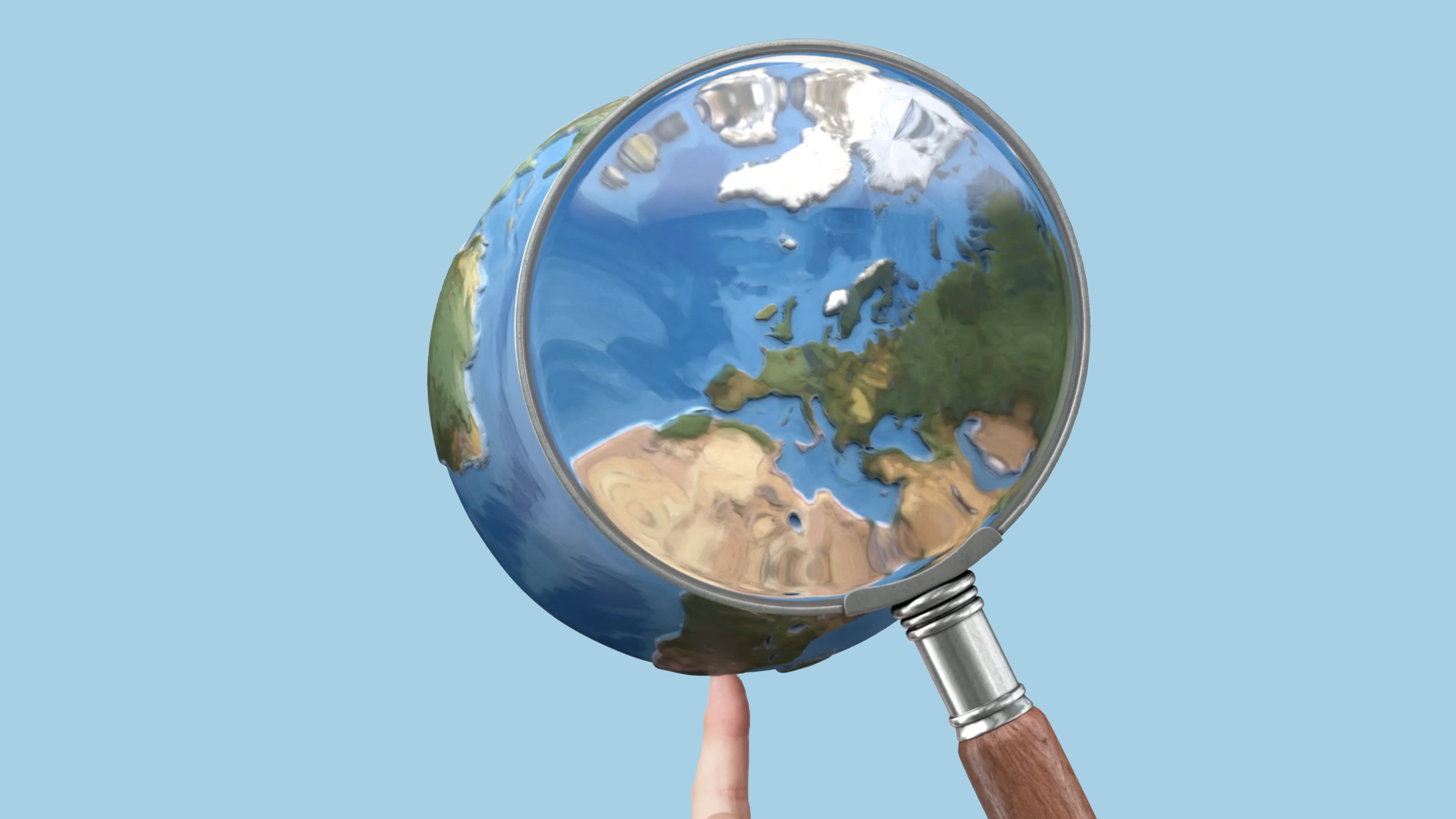 An animated globe is enlarge by a magnifying glass