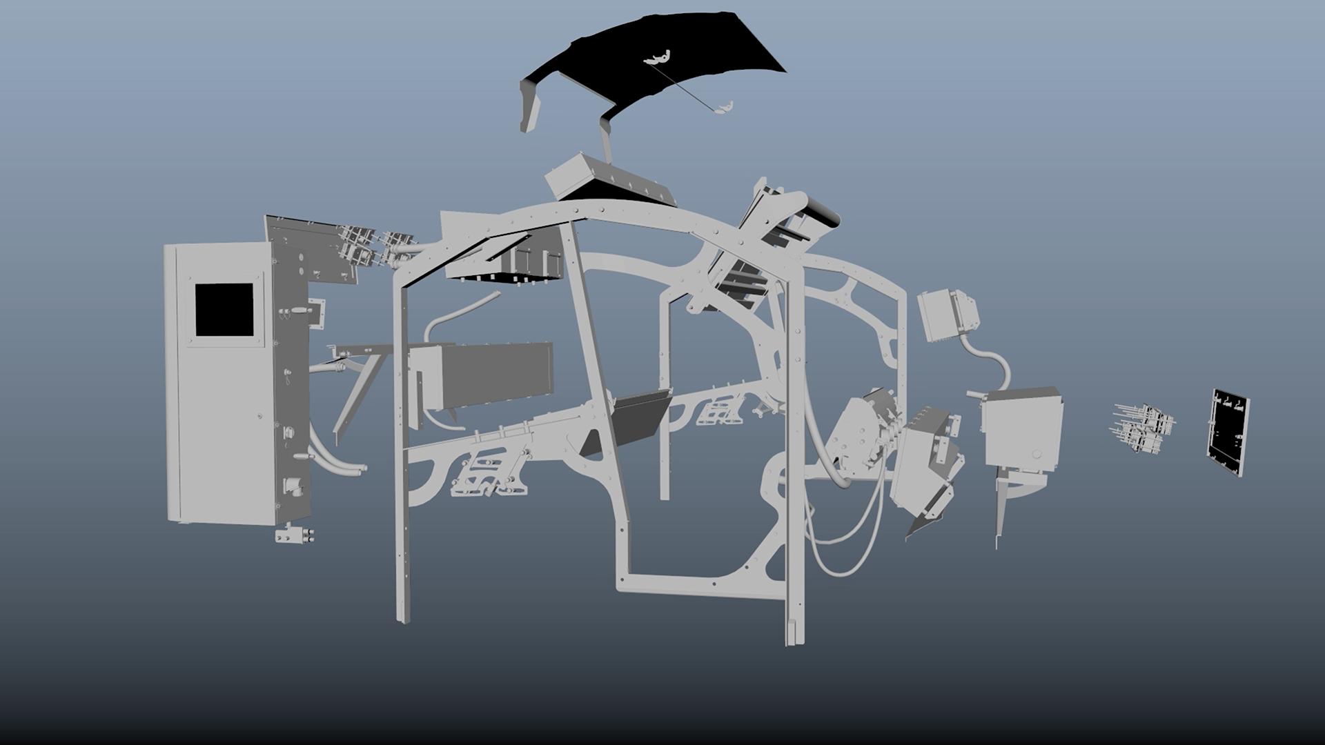 pre rendered image of sorting machine split apart
