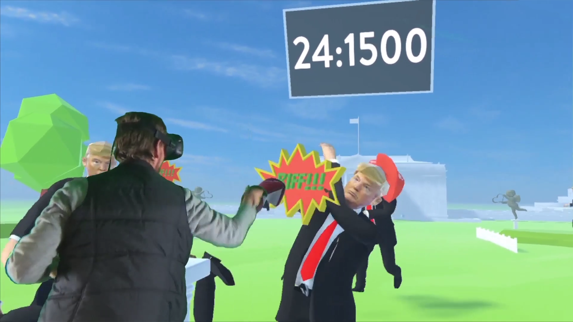 A player uses VR to play a game