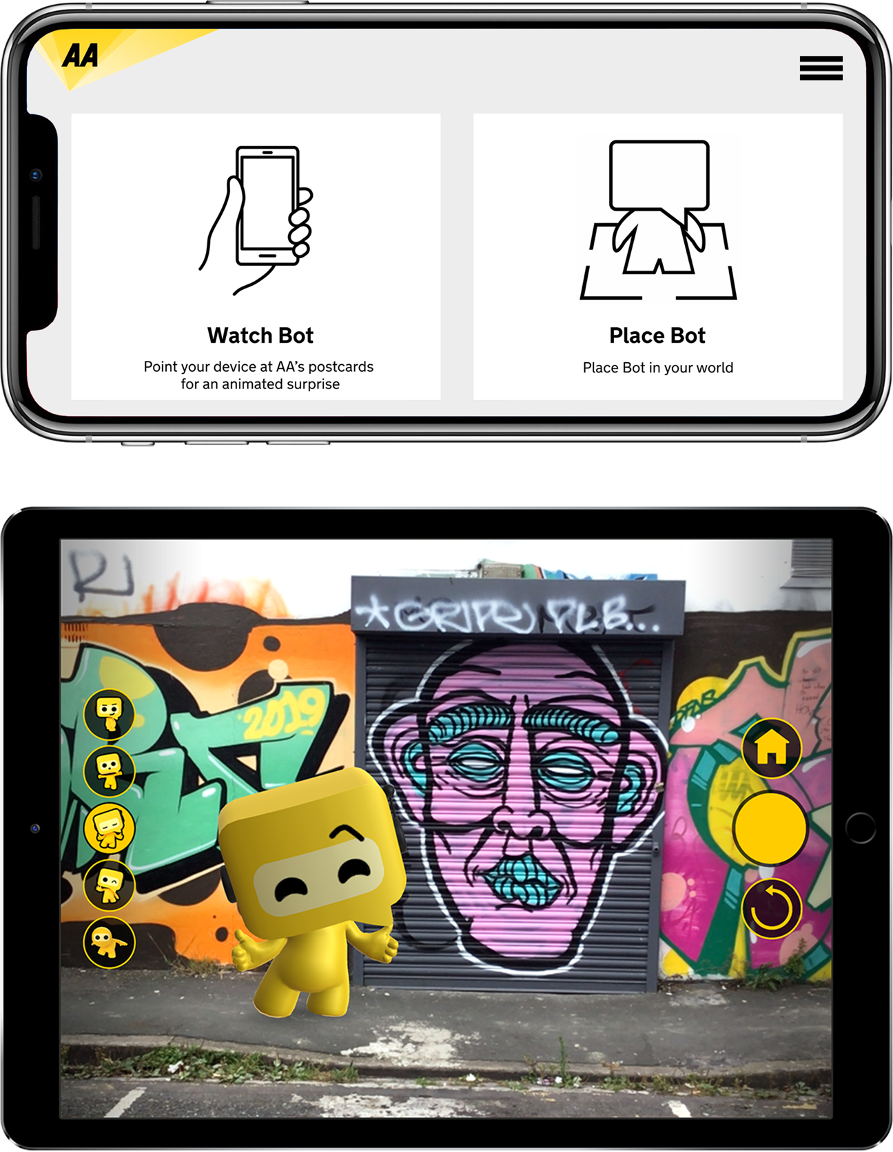 User interface elements of the AR app on phone and tablet devices