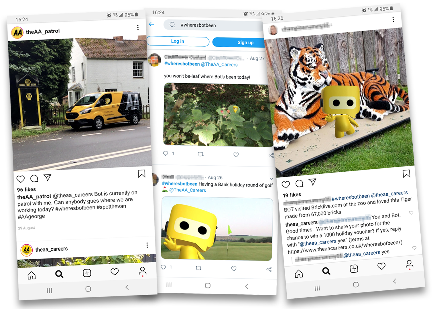 Social media posts from users of the AR app