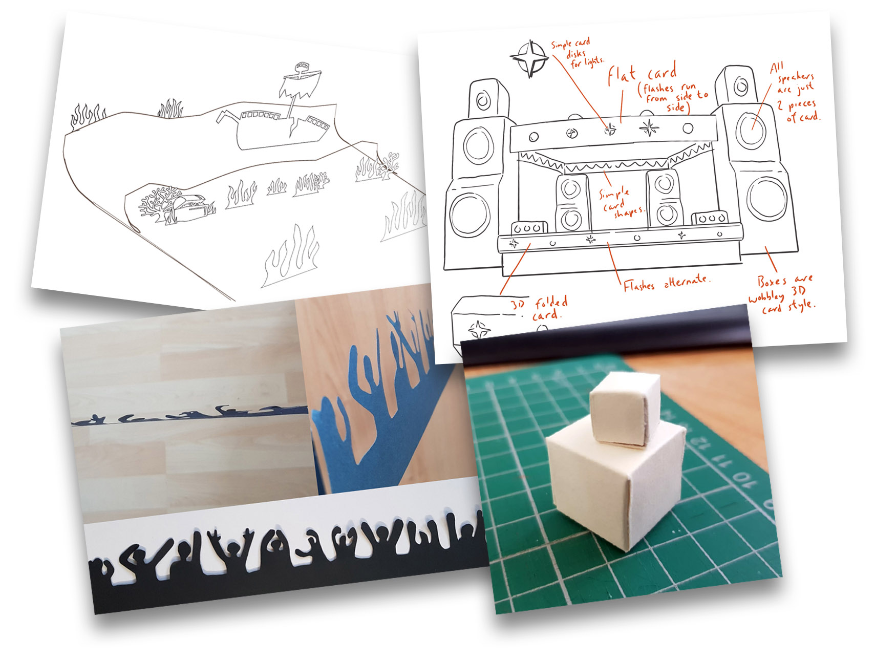 Sketches and paper models made to explore the style of the animations