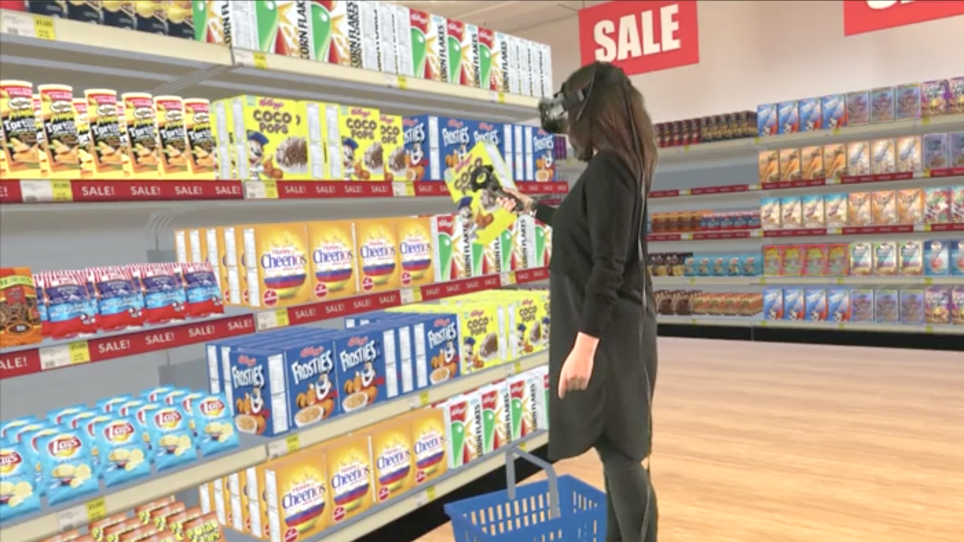 A shopper enters a VR supermarket and browses through the products