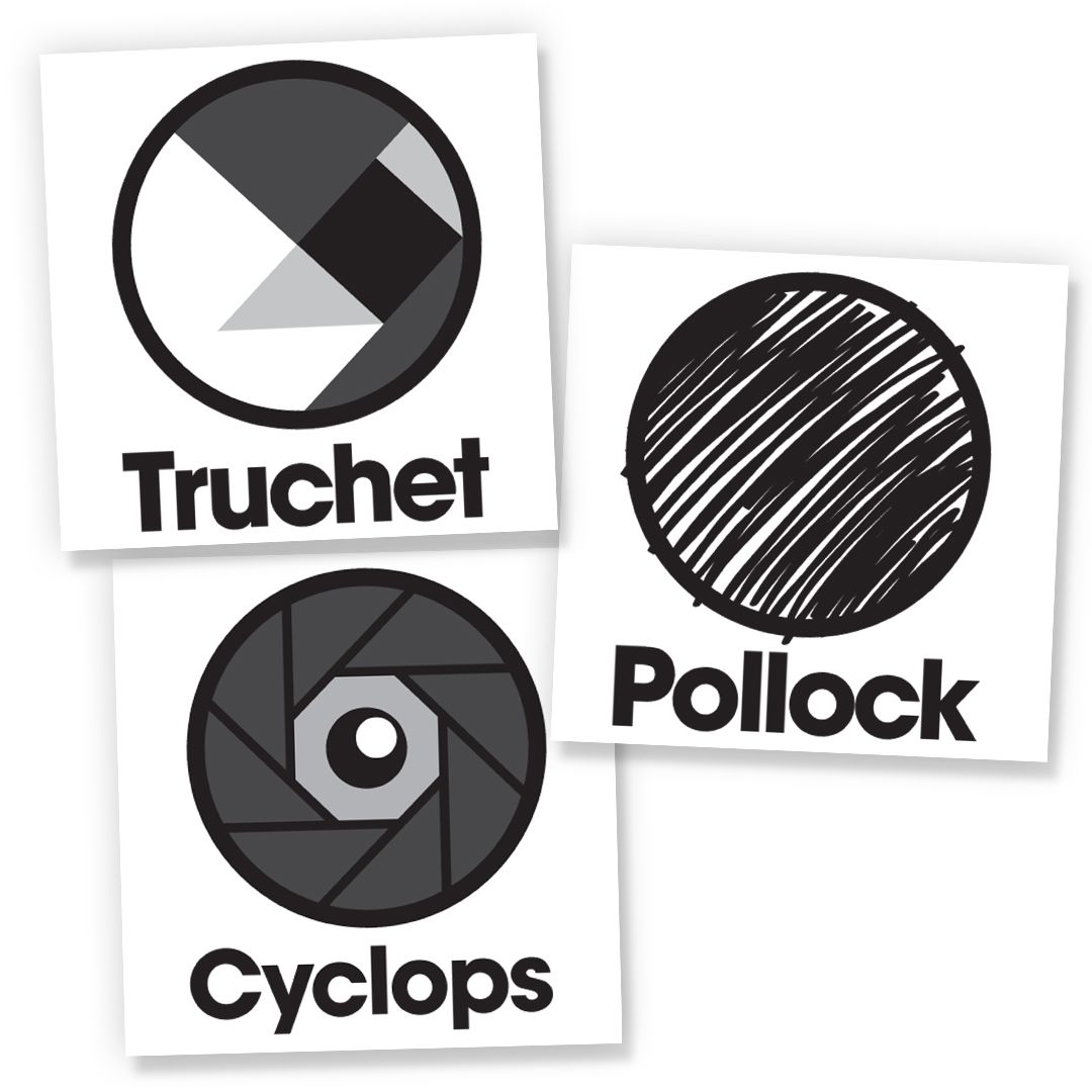 Truchet, Cyclops and Pollock programs