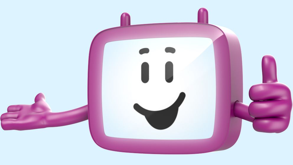 Friendly 3D cartoon purple phone mascot