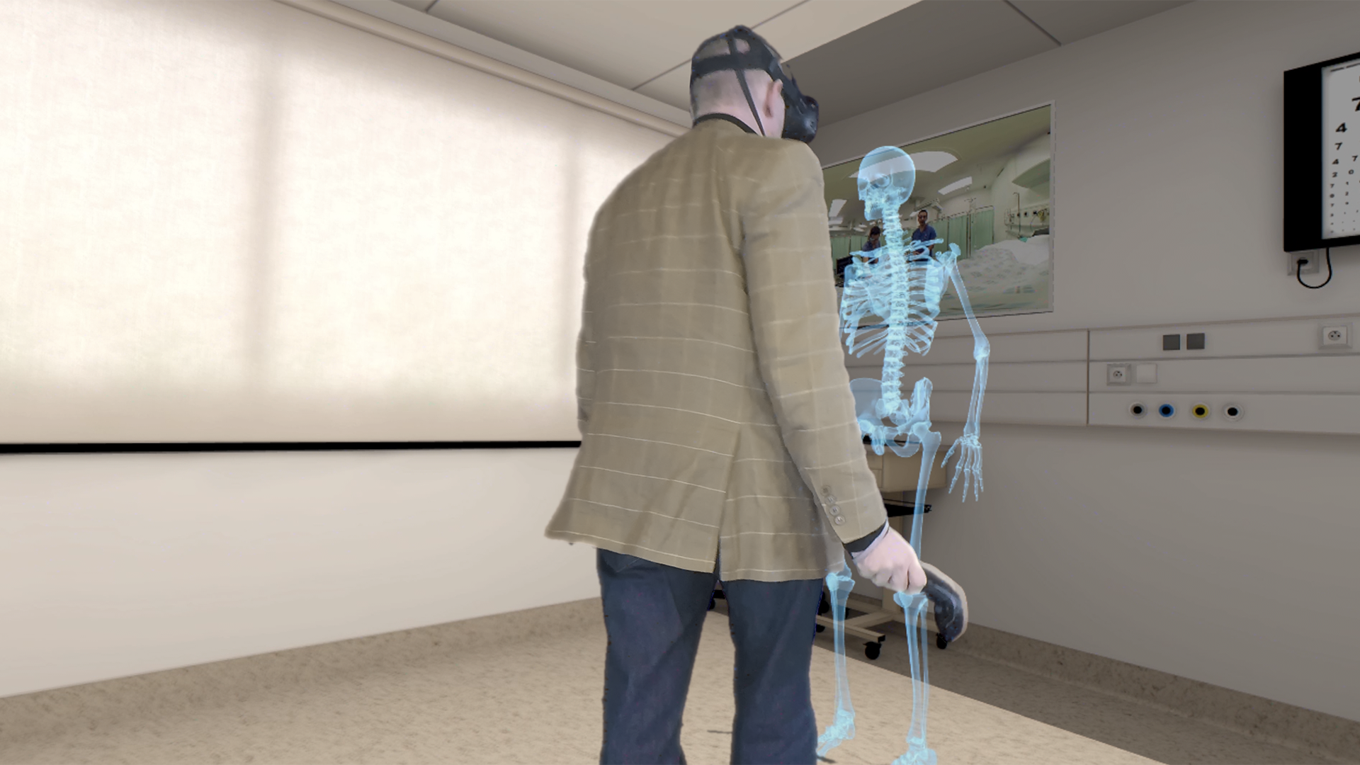 A person views an augmented reality medical environment