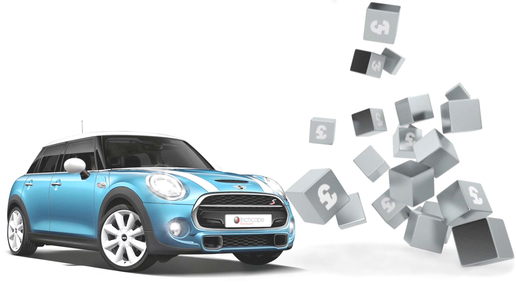 A photo-realistic blue Mini with CGI cubes falling behind