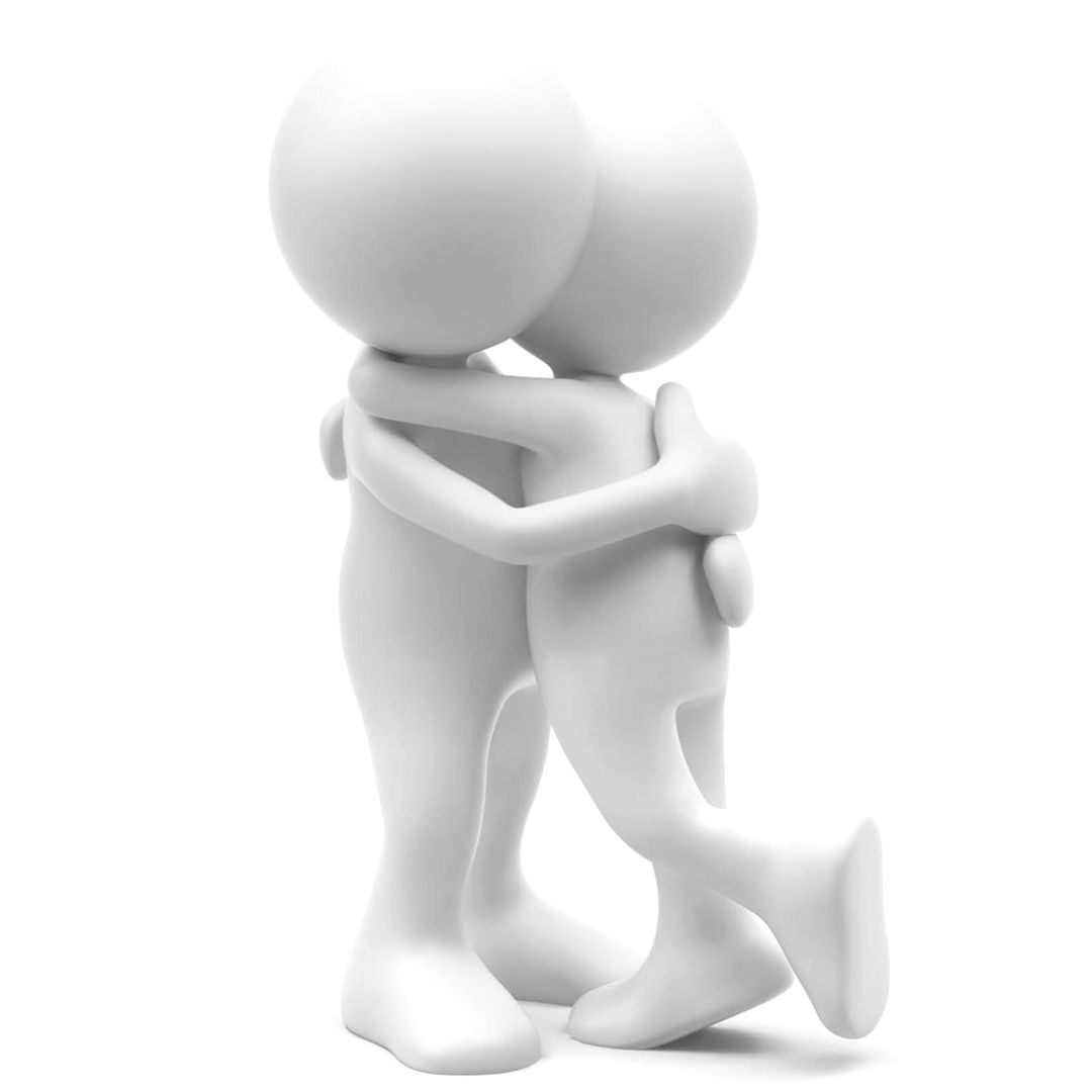 Two white 3D cartoon characters embracing