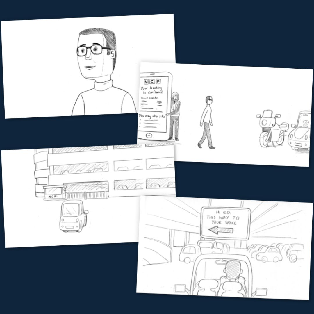 Sketched storyboard panels showing an NCP customer's journey to arrive at their car park