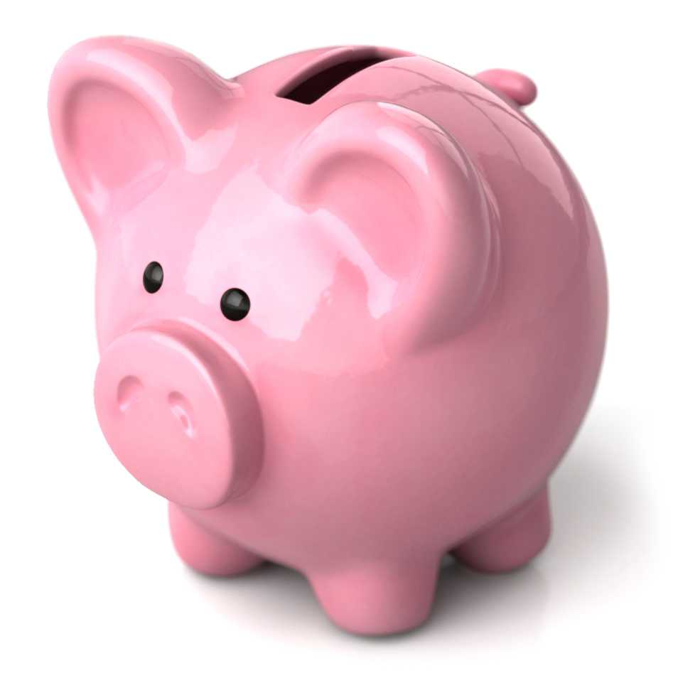 A glossy CGI piggy bank in a photo-realistic 3D style