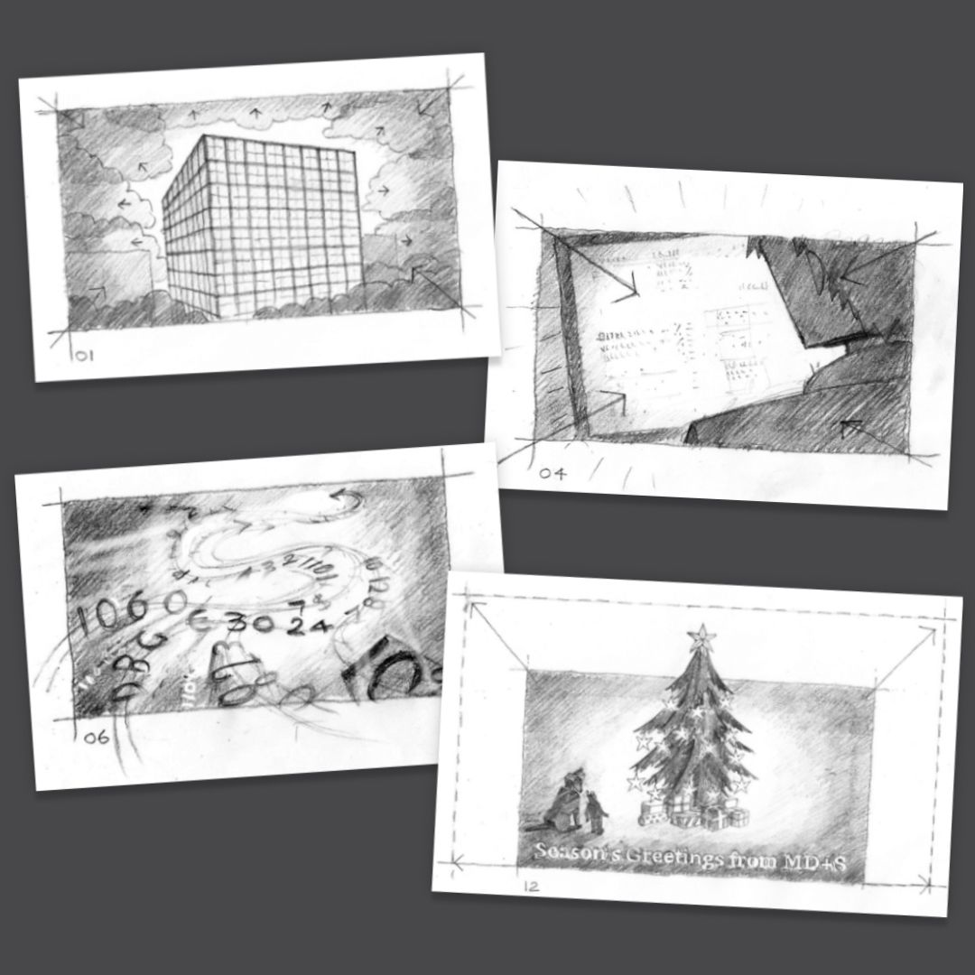 Sketched storyboards showing project development