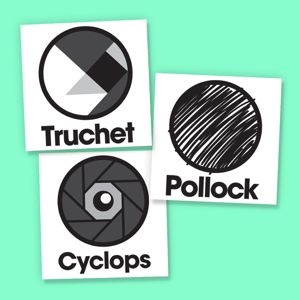 Truchet, Cyclops and Pollock programs